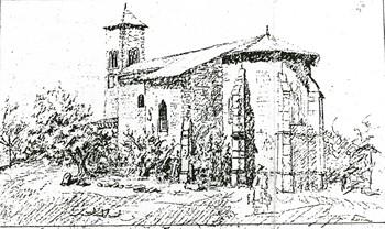 Croquis de l'ancienne église de Sorbey
